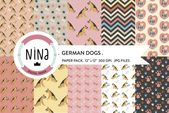 German Dogs Digital Paper Pack Hundepapier # Affiliate, #Ad, #Digital, #Dogs, #Ger ...